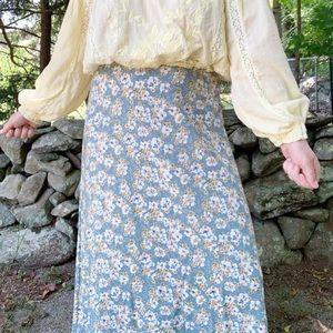 Vintage 90s White & Yellow Flowers Maxi Skirt Sz L